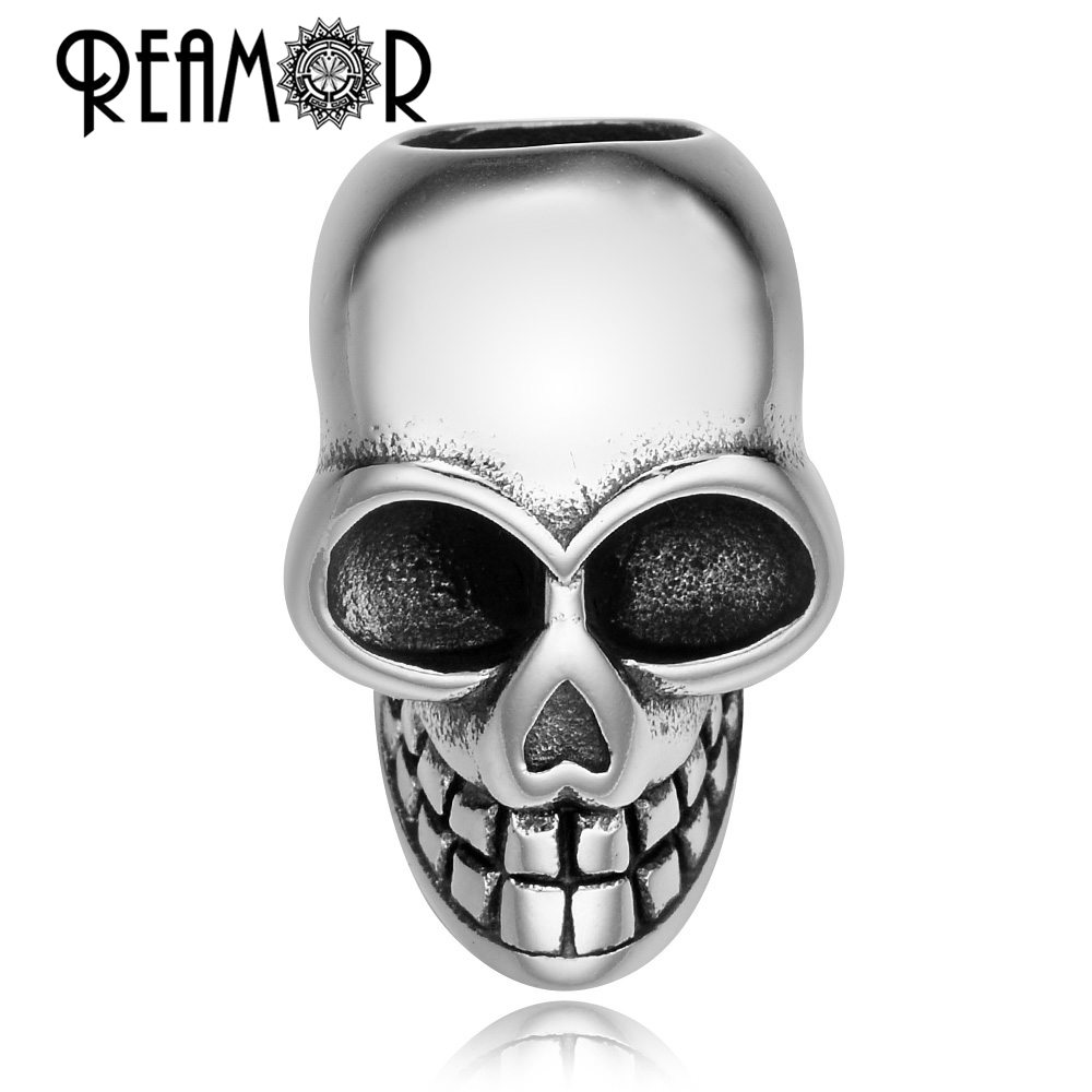 Reamor 5/6/8 mm 316lステンレススチールスカルヘッドヨーロッパの大きな穴チャームビーズスケルトンビーズ用男性ブレスレットdiyジュエリー作り