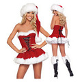 2015 Hot Sales New Christmas Costume for Lady Strapless Dress with Villi Hat Santa Claus Costumes Cute Nifty Ladies For Shipping
