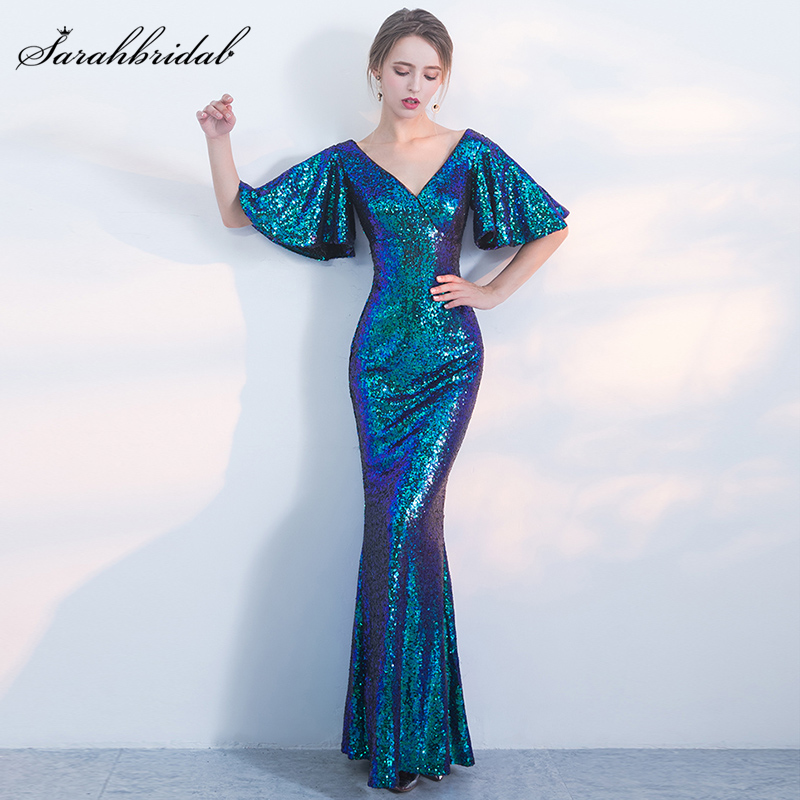 New Arrivals Mermaid   Bridesmaid     Dresses   Long   Dresses   Floor-Length Backless Sequined Party Gown Rode De Soiree WT3101