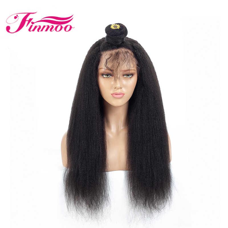Полностью кружевные человеческие волосы парики кудрявый прямой парик Yaki прямые волосы Реми с детскими волосами предварительно сорвал отбеленный контс парик