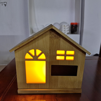 USB Charging Night Lamp Bamboo House LED Clock Induction Patting Tricolor Smart Home Children Birthday Christmas Creative Gift
