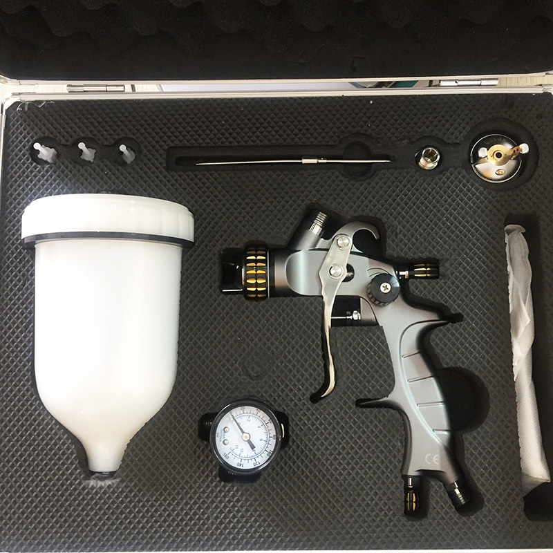 SAT1215 air spray paint gun gravity feed stainless spray hvlp gun sets nozzle 1.3mm and 1.7mm chrome paint spray gun airbrush paint spray gun 1 5mm nozzle gravity 400ml cup stainless steel high pressure painting gun