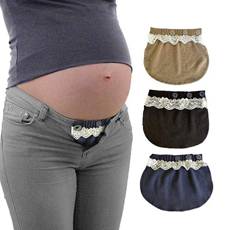 3 Buttons Adjustable Lace Maternity Belly Band Elastic Pants Pregnant Women's Extension Pants Buckle Maternity Wear Flexible(China)