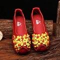 Original hecho a mano de la vendimia zapatos de cuero con flor plana zapato de las mujeres de cuero de estilo folk comodidad madre zapato de trabajo