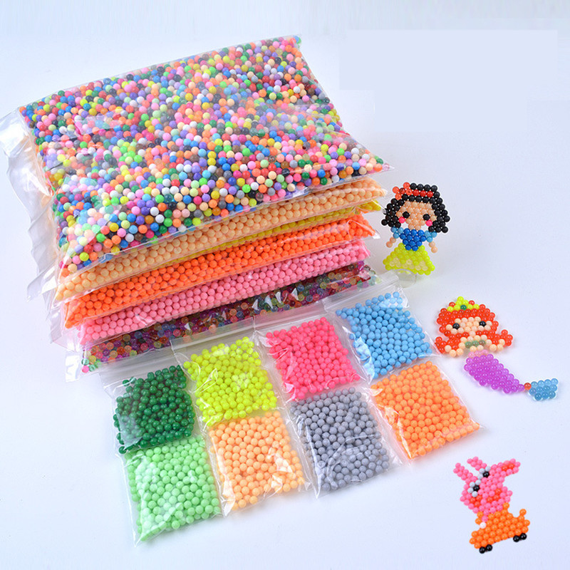 1000-6000Pcs/Set 24 Colors 5mm Water Spray Aqua Perlen Magic Beads Educational 3D Puzzles Accessories Kit for Children Kids Toys