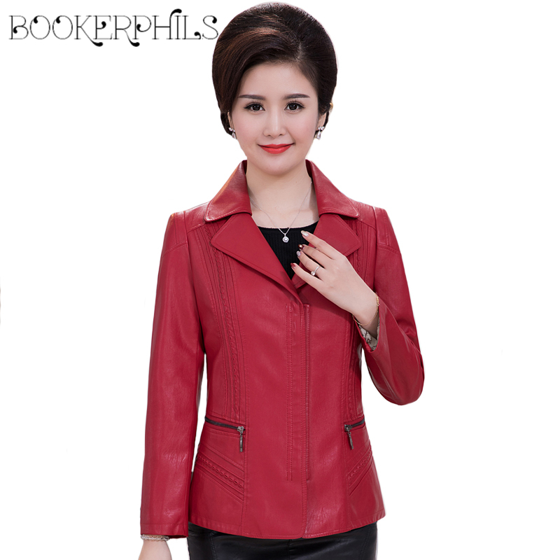 2019 Casual Female   Leather   Jacket Winter Autumn Middle-aged PU Faux   Leather   Jacket Women Red Plus Size Soft   Leather   Coat XL-6XL