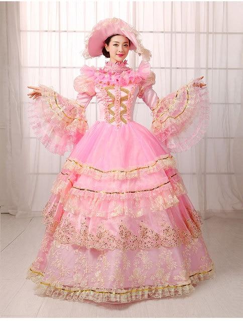 Elegante Rosa manga larga Encaje Victorian Lolita vestido medieval ...
