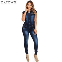 HAOYUAN Fashion Autumn Women Denim Jumpsuit Short Sleeve Bodycon Jeans Rompers Womens Jumpsuit Casual Overalls Bodysuit