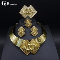 Dubai Gold Plated New Fashion Jewelry Set Bridal Nigeria African Beads Jewelry Necklace Bangle Earring Ring