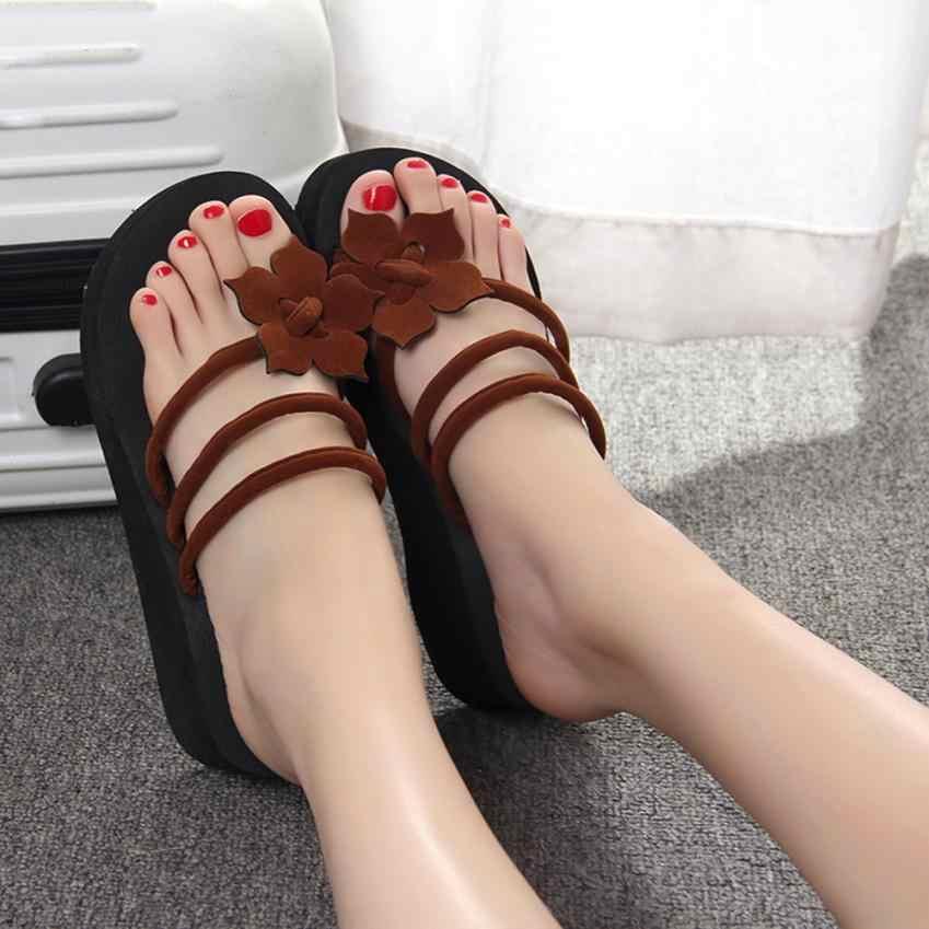 สตรีดอกไม้ลื่นแพลตฟอร์มรองเท้า Wedges รองเท้าส้นสูงรองเท้าแตะ 2018 ส้นสูงผู้หญิงชายหาดกลางแจ้งรองเท้าแตะรองเท้าแตะ