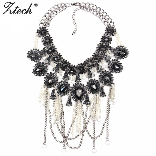 New fashion Z  jewelry statement necklace silver plated chain pendant Simluated pearl necklace link Tassels Crystal necklace