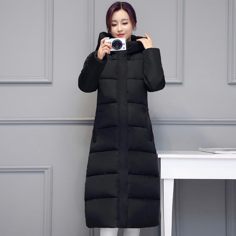 Long Warm Thicken Winter Coat for Women Hooded Cotton Padded Womens Jackets Long Slim Parkas Solid Female Jacket Zipper Parka