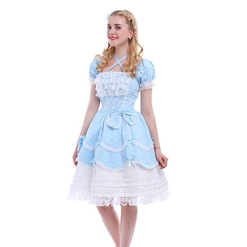 Rolecos Blue Red Pink Navy Sweet Lolita Gothic Princess Maid Dresses Girls Vintage Ball Gown Bowknot