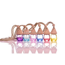 MINI 6ml  Colorful Glass Essential Oil Bottle car hang decoration Pendant Fimo beauty Perfume Vials Wedding Gift