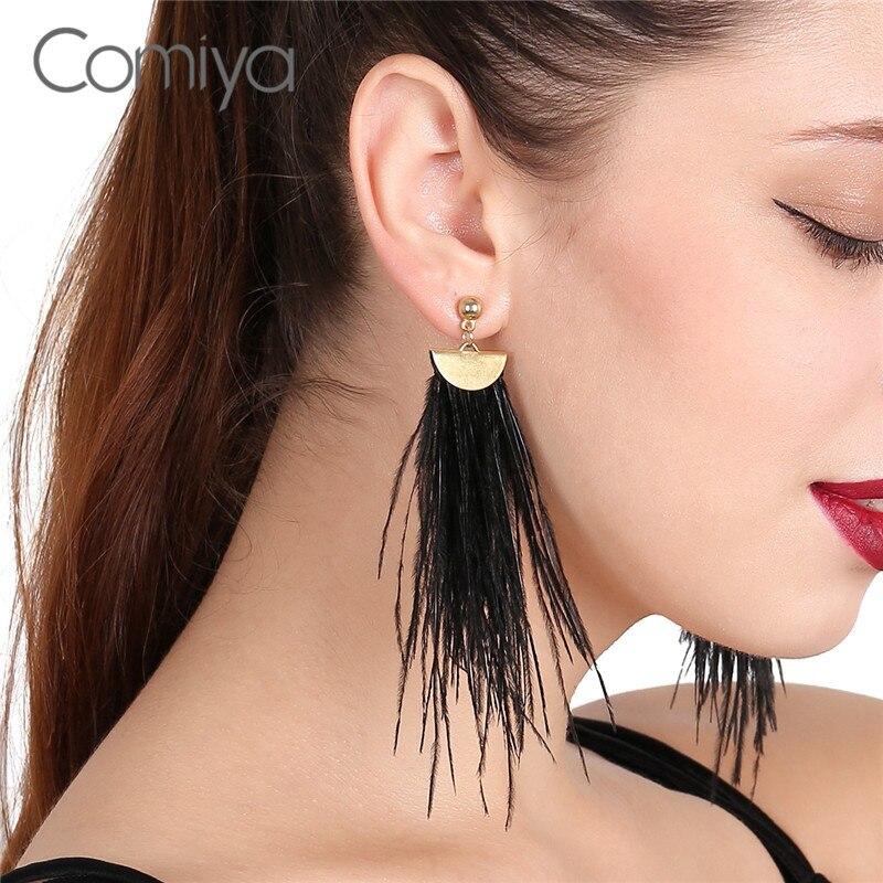 Comiya Elegant Gold Color Aros Long Tassel Earrings For Women Pendant Femme Ethnic Bohemia Vintage Jewelry Statement Earring