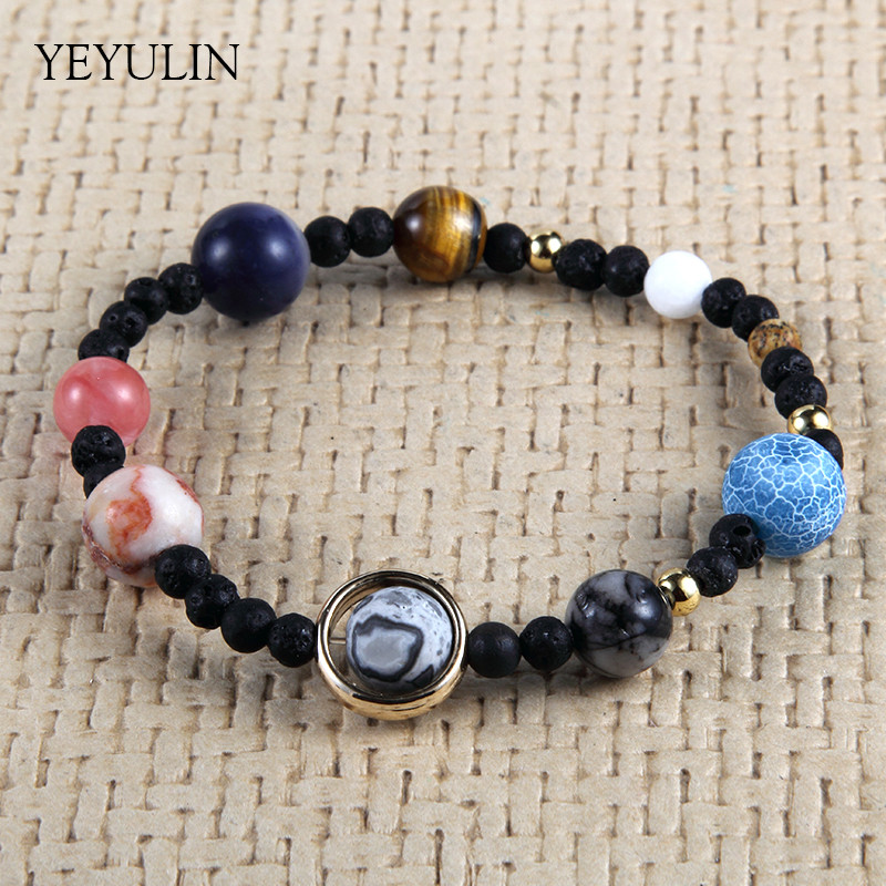 New Design Universe Galaxy the Eight Planets in the Solar System Guardian Star Stone Beads Bracelet for Women Men Bangles Gift