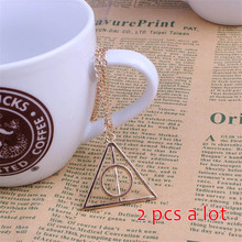 POPLOV HP Luna Triangle Deathly Hallows Pendant Necklace Silver Gold Color Vintage Geometric Long Chain Jewelry