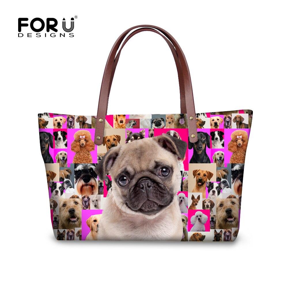 ФОТО Kawaii Pug Dog Ladies Large Tote Bags Designer Women Handbag Cute Boston Terrier Top-Handle Bags Bolsas Big Shopping Travel Bags