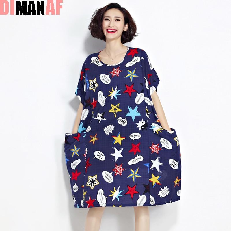 279c08bd91 Plus size kobiety dress gwiazdy drukuj lniane lato kobiet dorywczo mody o  neck kawaii eleganckie suknie kieszonkowy duży rozmiar t shirt w Plus size  kobiety ...