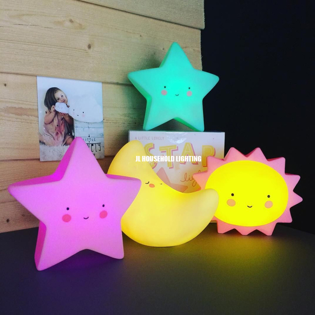 07093b8a4d Warm light Moon star sun LED Baby night Lights lamp Kids gifts toys  sleeping room novelty lighting new