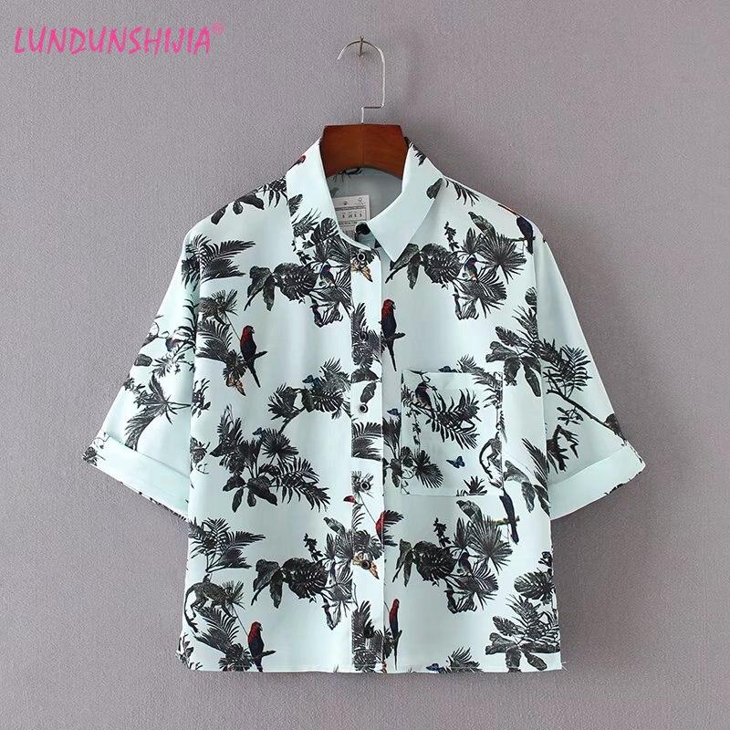 US $11.69 10% OFF LUNDUNSHIJIA koszula damska ptak drukowane krótki styl szyfonu w stylu Vintage z krótkim rękawem Lapel bluzka 2017 lato luźne Top