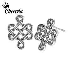 Chereda Chinese Knot Vintage Stud Earrings for Women Hollow Geometric Handmade Earring Antique Silver Jewelry Hot Sale