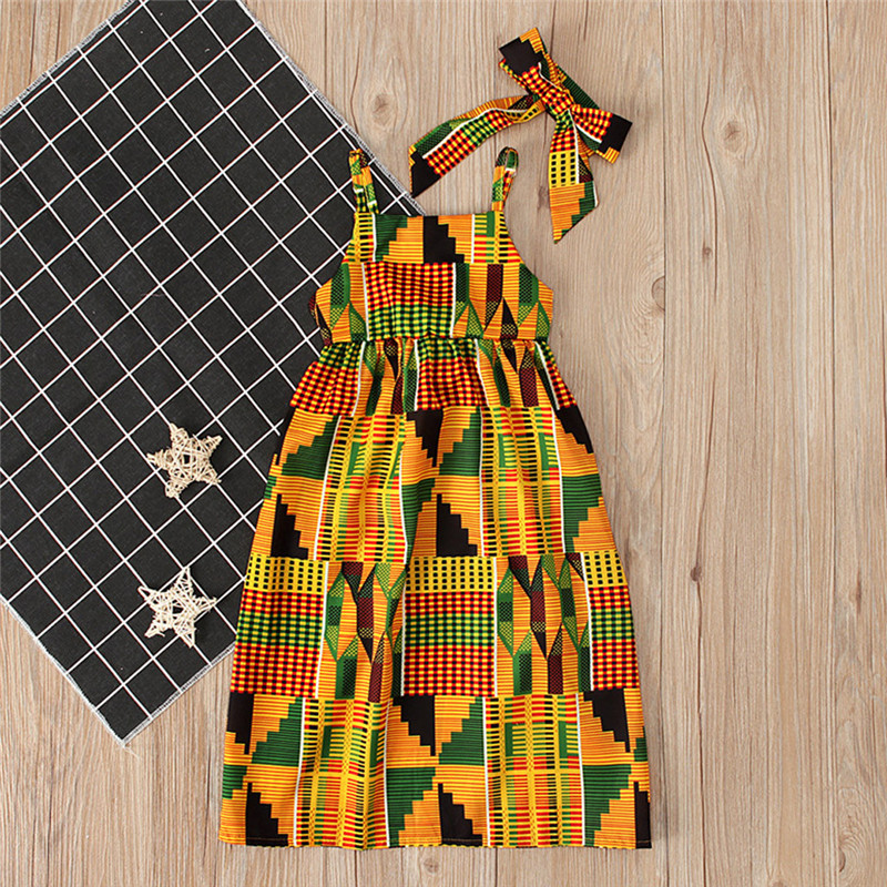 Toddler Baby Girls African Print Off Shoulder Hair Band Princess Casual Dress vestido robe fille  #4j12 (15)