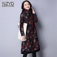 Autumn Winter Fashion Women Dress Turtle Neck Pullover Long Sleeve Dress New Printed Cotton Linen Loose