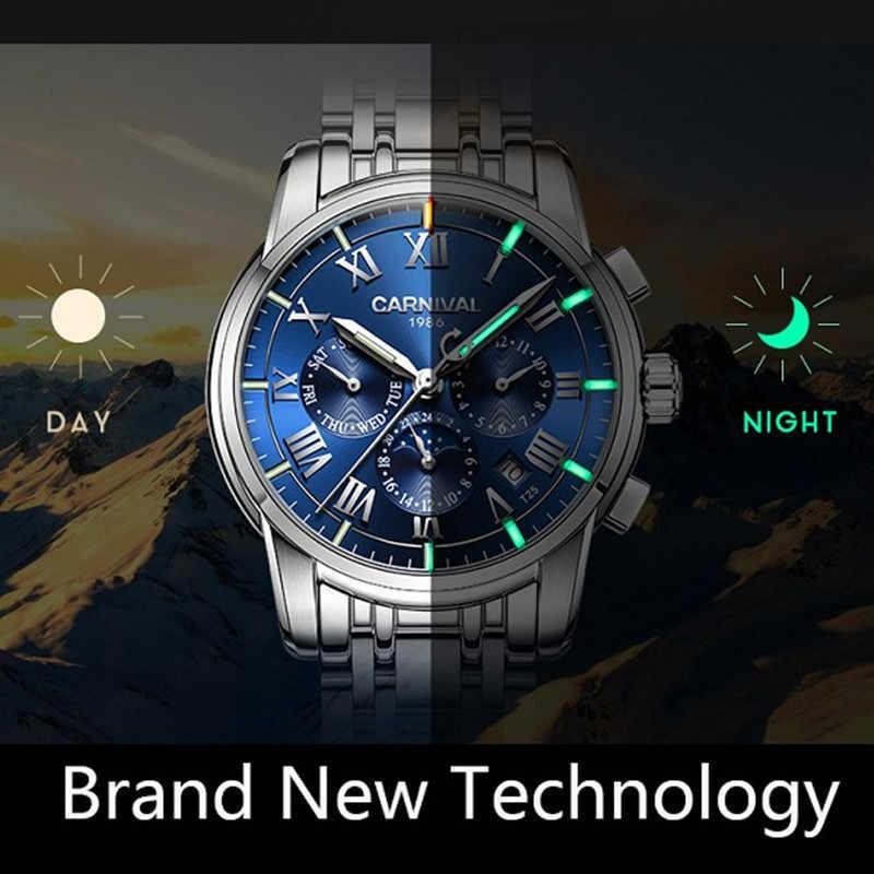 Karnaval İzle erkekler İsviçre lüks marka ay fazı trityum ışık askeri mekanik erkek saatler tam çelik saatler relojs