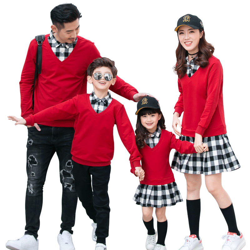 Matching Sweaters Family Son Outfits Shirts Women Kids And Autumn Spring Plaid