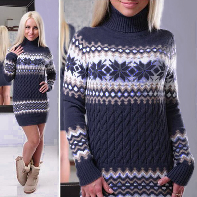 2017 Winter Long Sleeve Turtleneck Pullovers Women Sweater Snowflake Christmas Sweater Female Knitted Mini Sweater Dress