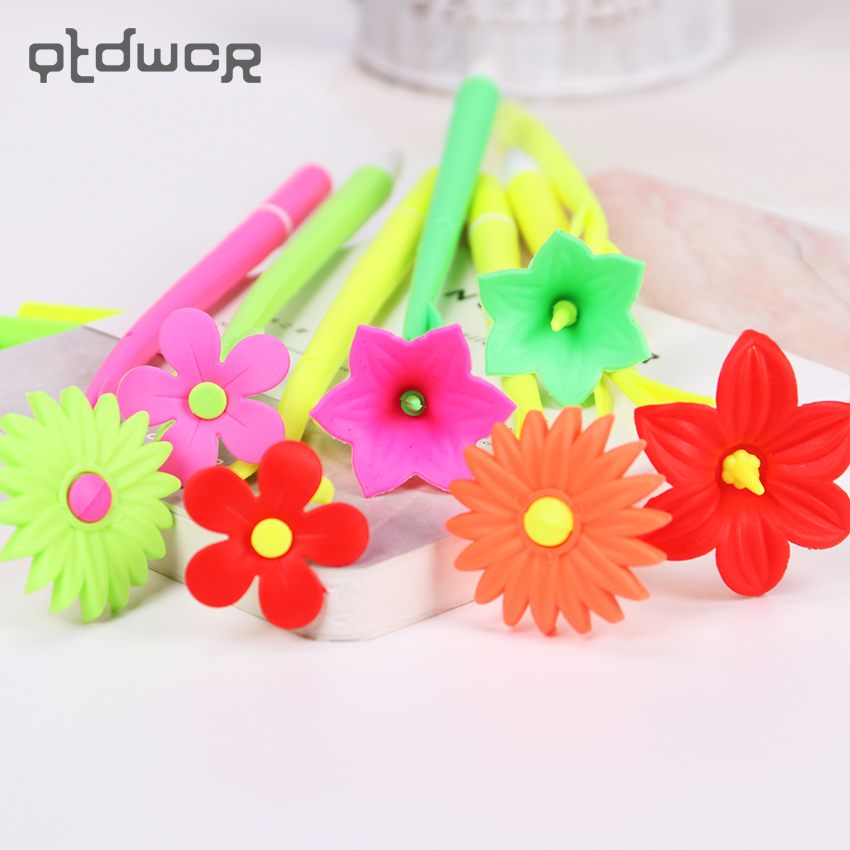 4PCS Flowers Soft Silicone Black Ink Gel Pens School Supplies Office Stationary Gel Ink Pen 0.38MM for Kids Gift