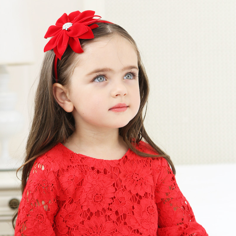 Bezel for Girls Hair Accessories Felt Flower Headband Headdress Rhinestone Hairband Red Color New Year   Headwear