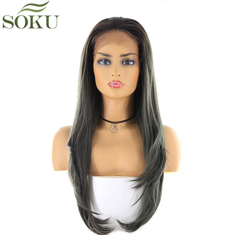 Synthetic Lace Front Wigs SOKU 13*4 Lace Frontal 150% Density Free Part 26 Inch Long Straight Wig For Women Free Shipping