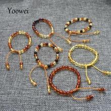 Yoowei 도매 발트 앰버 팔찌 원래 바로크 비즈 조정 가능한 앰버 팔찌 bijoux 자연 앰버 쥬얼리 공급 업체
