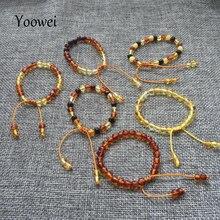 Yoowei toptan baltık Amber bilezik orijinal barok boncuk ayarlanabilir Amber bilezik Bijoux doğal Amber takı tedarikçiler