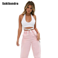 Sukibandra New Summer Women White Crop Top Camis Lace Up Casual Beach Halter Camis Sexy Backless Sleeveless Female Tank Camisole