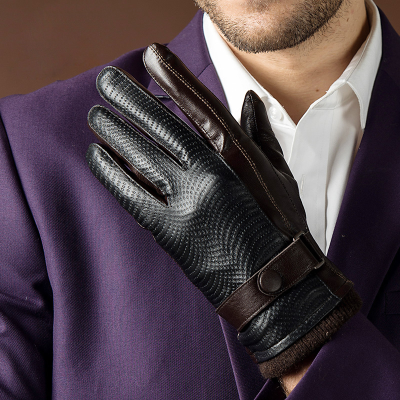 2019 Autumn Fashion New Men's Genuine Sheepskin Leather Gloves Goatskin Belt Button Black Plus Velvet Warm Gloves Driving Gloves