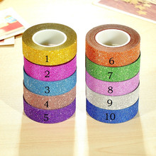 10m Glitter Matte Adhesive Tape Wedding Decor Scrapbooking Card Paper Sticker Photo Albums DIY Craft Party Home Decoration(China)