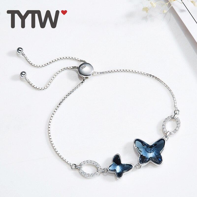TYTW S925 cristales de plata esterlina de swarovski rodio grueso - Bisutería - foto 3