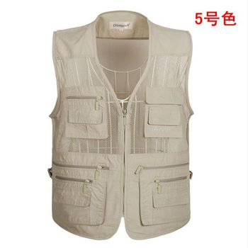 outdoor Men Multi Pocket Baggy Vest 2019 Summer men Casual Thin Mesh Shooting Work Outerwear Sleeveless Jacket With Many Pockets