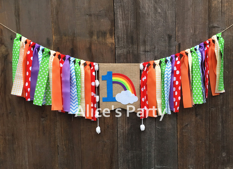 Rainbow Stripes Personalised Children/'s Birthday Party Bunting Banner Garland