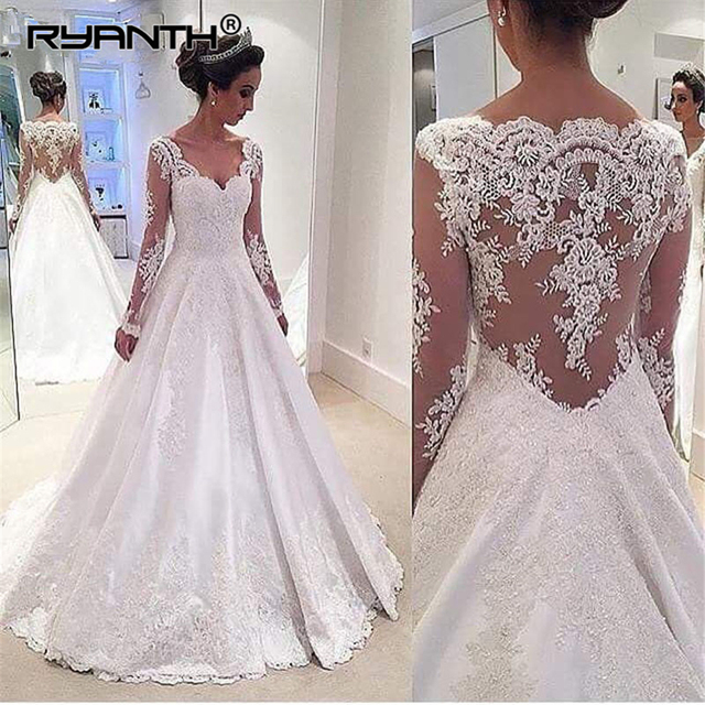 33d5c992aeb Vestido de Noiva Sexy V Neck Long Sleeve Lace Appliques Plus Size Wedding  Dress 2019 Cheap A Line Satin Bridal Wedding Gowns