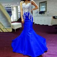 Elegant Royal Blue Formal Evening Gowns Silver Crystals Sexy Mermaid Long Prom Dresses 2018 Women Pageant Dress Vestidos Baile