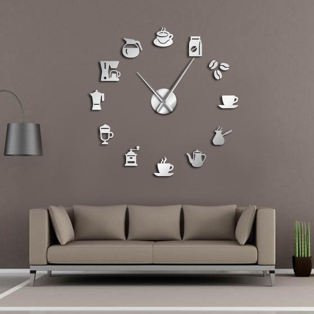 Coffee Mug Wall Art Coffee Shop DIY Giant Wall Clock Cafe House DIY Stickers Decorative Big Hands Frameless Large Clock Watch