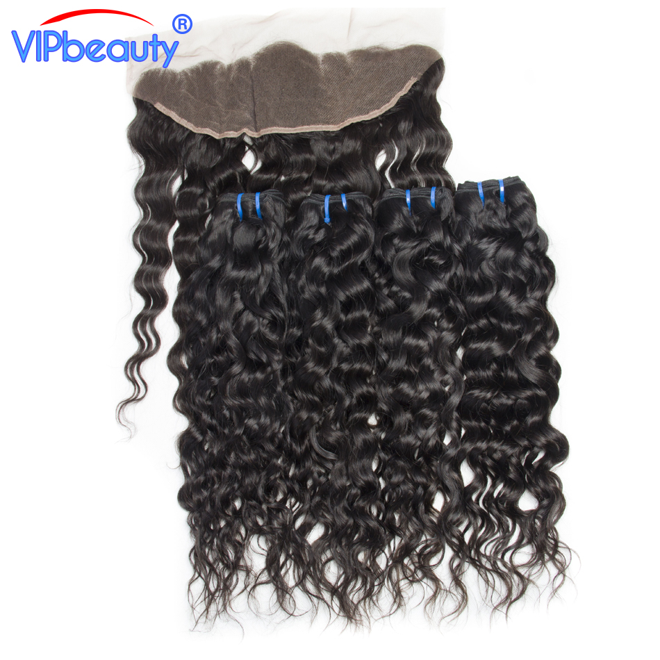 13x4 pre plucked Brazilian water wave 4 bundles with lace frontal closure vip beauty non remy human hair bundles with closure 1b