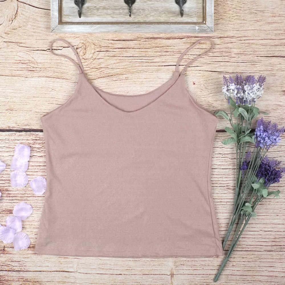 女性の春夏のピンクのスリムソリッド v 襟タンクトップ女性隠しボタン背中ノースリーブ夏セクシーなファッションブラウス