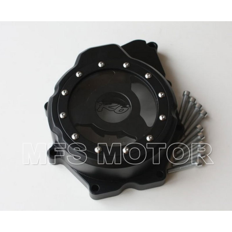 motorcycle parts Left side Engine Stator cover see through for yamaha YZF-R6 2006 2007 2008 2009 2010 2011 2012 2013 Black aftermarket free shipping motorcycle parts eliminator tidy tail for 2006 2007 2008 fz6 fazer 2007 2008b lack
