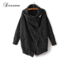Dosoma Irregular Mohair Cardigans Women Scarf Collar Knit Winter Sweater Large Size Outwear Female Cardigan Brand