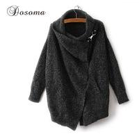 Dosoma Irregular Mohair Cardigans Women Scarf Collar Knit Winter Sweater Large Size Outwear Female Cardigan Brand